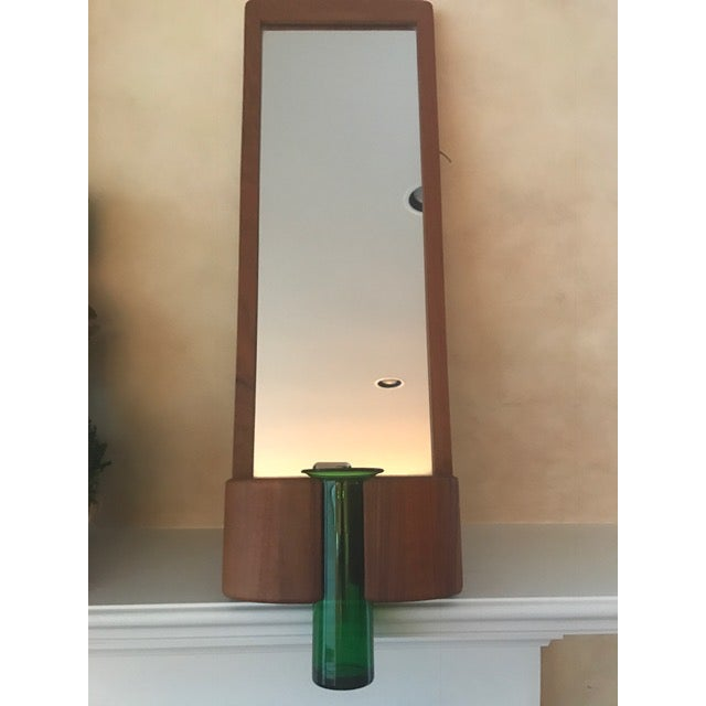Randers Mobelfabrik Danish mid-century modern teak-framed mirror is perfect for entryway or narrow wall space. Mirror has...