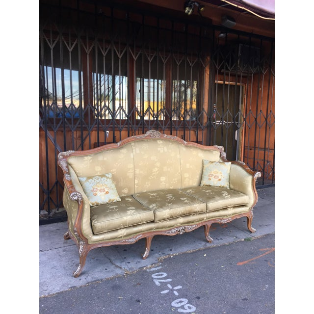 French Antique French Olive Green Silk Upholstered Carved Wood Sofa For Sale - Image 3 of 10