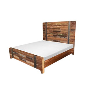 Valery Rustic Wooden King Size Bed For Sale