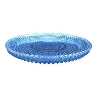 Vintage Blue Glass Platter For Sale
