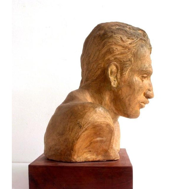 1950s Portrait of an Athlete Clay Sculpture by A. Perelli For Sale - Image 5 of 8