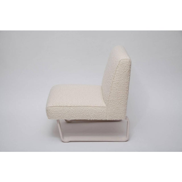 """Rare and fine """"Modern Morris"""" slipper chair by Edward Wormley for Dunbar. Fully restored bleached mahogany legs,..."""
