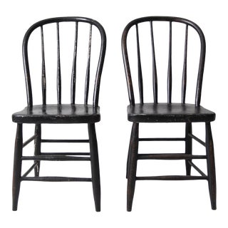 Vintage Black Spindle Back Chairs - a Pair For Sale