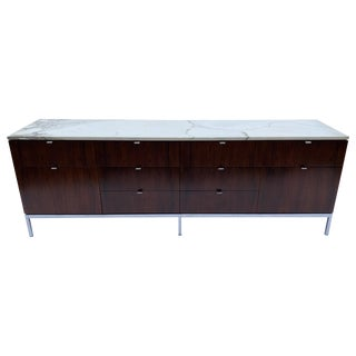 Florence Knoll Rosewood 10 Drawer Cabinet or Credenza With Carrara Marble Top For Sale
