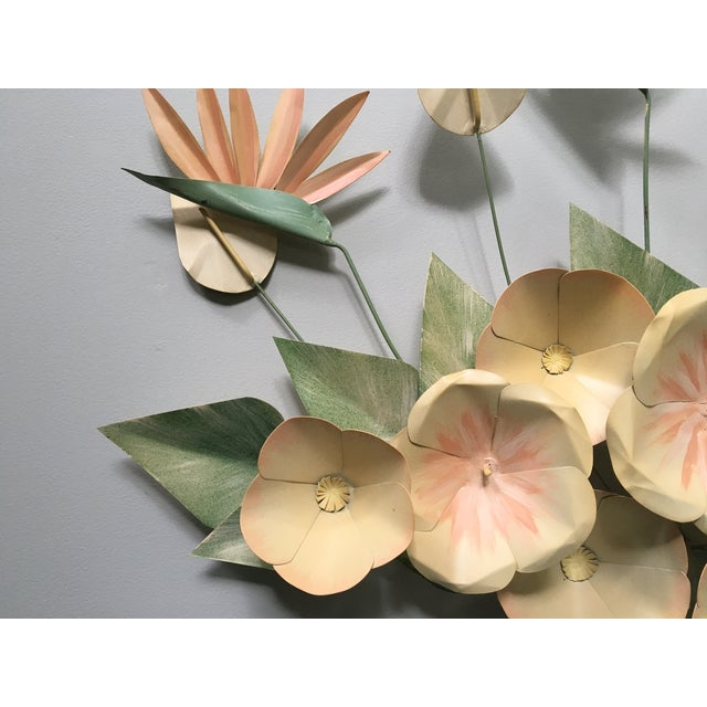 Mid Century Modern Bird of Paradise Flower Tole Wall Sculpture For Sale - Image 5 of 7