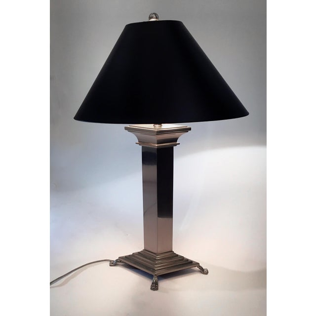 Contemporary Modern Polished Nickel Table Lamp For Sale - Image 3 of 3