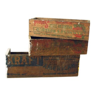 Vintage Rustic Cheese Boxes - Set of 3 For Sale
