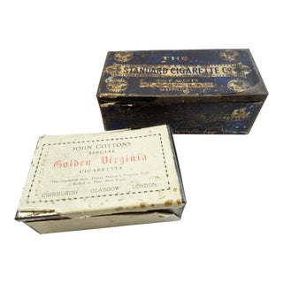 Antique Cigarette Tin Boxes - Set of 2