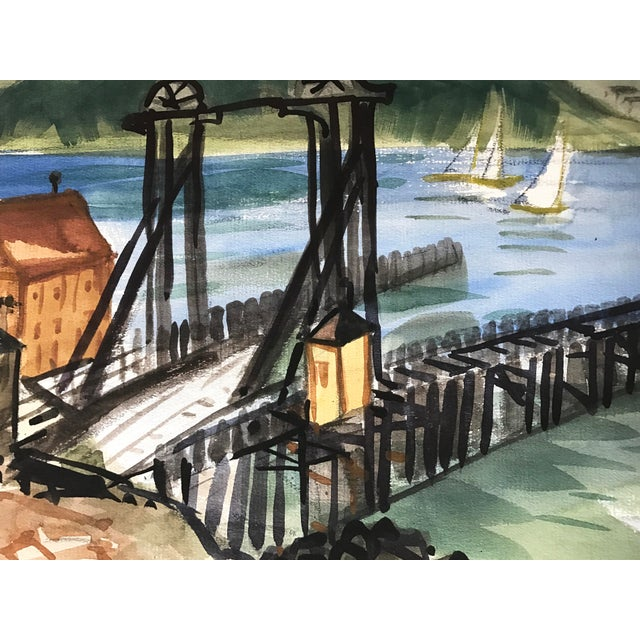 Vintage Watercolor of Tiburon-San Francisco Ferry Dock Mid Century Art For Sale - Image 4 of 5