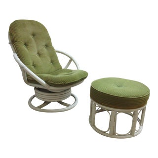 Vintage Mid-Century Rattan Bamboo Clarke Casual Lounge Chair and Ottoman For Sale