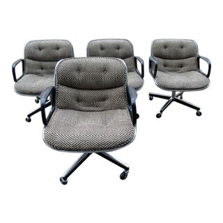 Mid-Century Knoll Pollock Tweed Upholstered Executive Chairs - Set of 4 For Sale