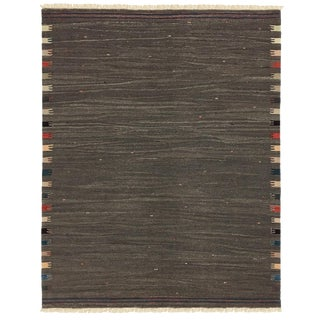 Rug & Relic Yeni Kilim in Charcoal Gray For Sale