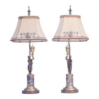 19th C French Bronze and Marble Figure Lamps - a Pair For Sale