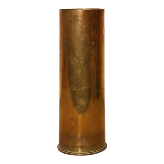 Antique French Brass Artillery Shell Casing For Sale