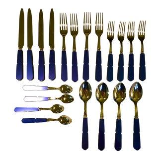 Sabre Paris Steel & Blue Acrylic Flatware 4 Place Settings - 20 Pc. Set For Sale