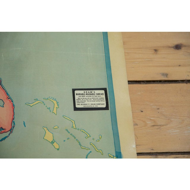 Vintage 1930s Crams Pull Down Map For Sale - Image 4 of 9