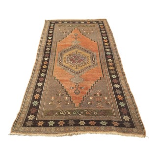"1960s Turkish Anatolian Vintage Pastel Oushak Rug - 7' x 3'8"" For Sale"