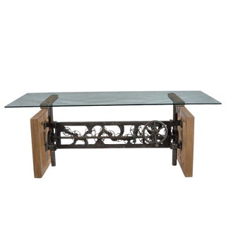 Industrial Beal Dining Table With Glass Top For Sale