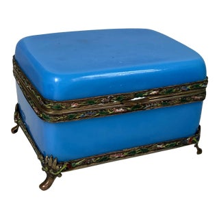 Antique Blue Opaline Rectangular Chinese Glass Jewelry Box with Enamel Frame For Sale