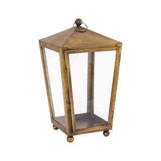 Brass Footed Candle Lantern For Sale