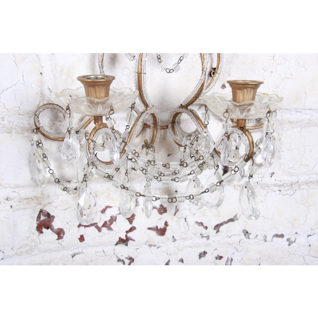 Pair of Antique Italian Baroque Wall Sconces in Crystal, Brass, and Gilt Metal For Sale - Image 10 of 13
