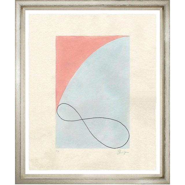 Simple abstract piece with an arc of soothing blue, apricot and an infinity symbol. Limited edition (6/75) signed by...