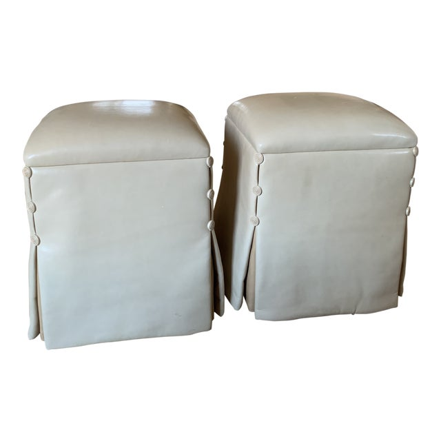 J. Robert Scott Lamb Skin Ottomans-A Pair For Sale