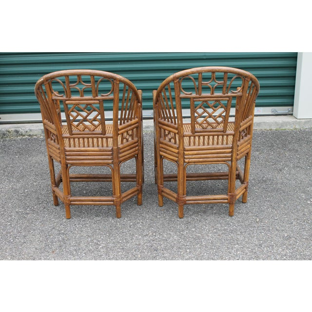 Mid 20th Century Chinoiserie Bamboo Rattan Brighton Pavilion Chairs - a Pair For Sale - Image 5 of 9
