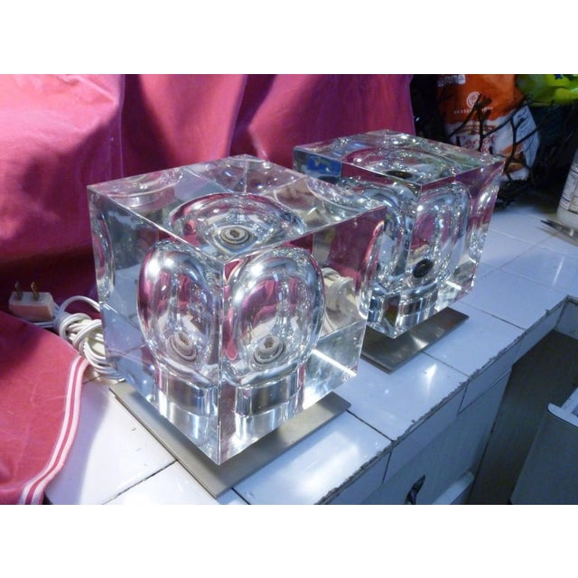 Mid-Century Modern 1970's Vintage Robert Rigot- P Baccarat Cube Lamps- A Pair For Sale - Image 3 of 10