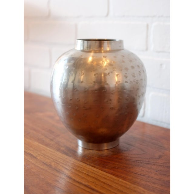Vintage Hand Hammered Metal Vessel For Sale - Image 4 of 6