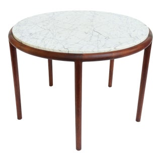 Mid-Century 5 Legged Walnut and Marble Side Table For Sale