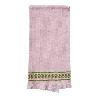1960s Boho Pink & Green Embroidered Fringed Hand Towel For Sale