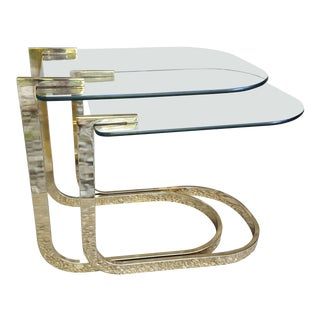 1970s Hollywood Regency Design Institute of America Brass and Glass Cantilever Nesting Tables - 2 Pieces For Sale