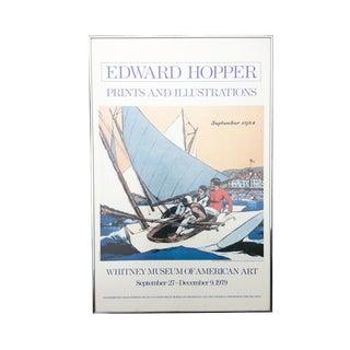 Edward Hopper 1970s Sailboat Original Illustrated Art Print - Whitney Museum Exhibit Poster For Sale