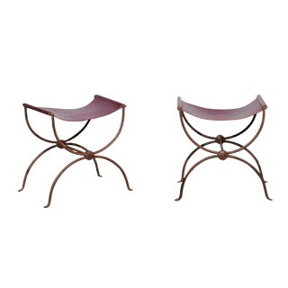 Pair of French Iron Stools With Leather Seats For Sale