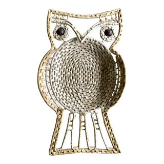 Vintage Mid-Century Modern Bamboo and Straw Owl For Sale