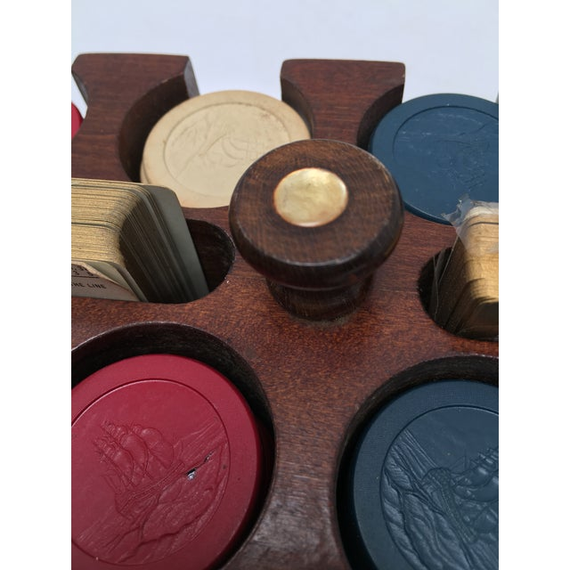 Red 1930s Vintage Clay Poker Chips in Wood Carrying Case For Sale - Image 8 of 11