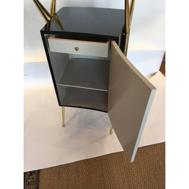 Italian Modernist Dry Bar with Floating Glass Top and Brass Accents For Sale In Miami - Image 6 of 6