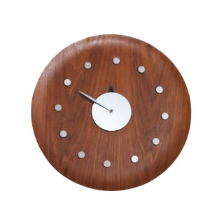 Vintage George Nelson Style Walnut Wall Clock For Sale