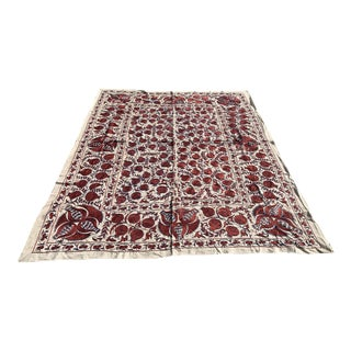 """Handmade Suzani Pomegranate King Size Bedspread / Wall Hanging or Table Cloth - 8'3"""" x 6'7"""""""