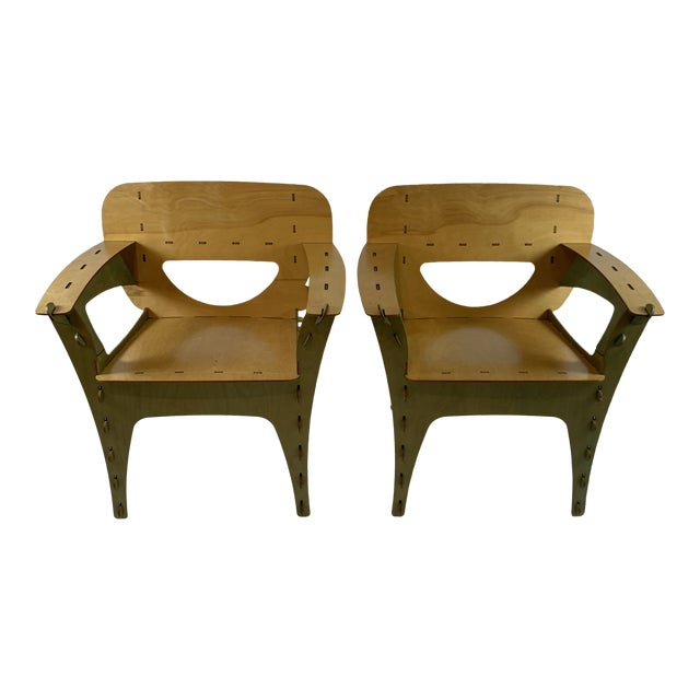 1990s Vintage David Kawecki Puzzle Chairs- A Pair For Sale