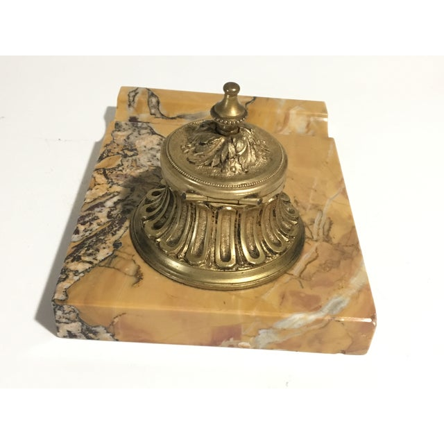 Antique French Gilded Bronze & Marble Inkwell For Sale - Image 6 of 13