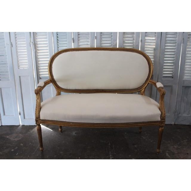 Vintage 20th Century French Louis XVI Style Oval Back Settee For Sale - Image 9 of 9