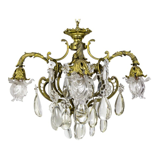 Bronze Belle Epoch Glass Flower and Smooth Almond Crystal Chandelier For Sale