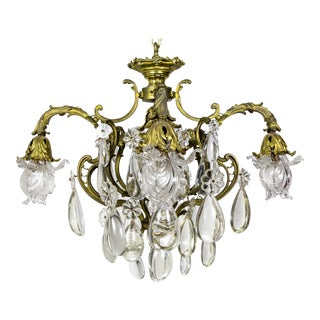 Bronze Belle Epoch Glass Flower and Smooth Almond Rock Crystal Chandelier For Sale