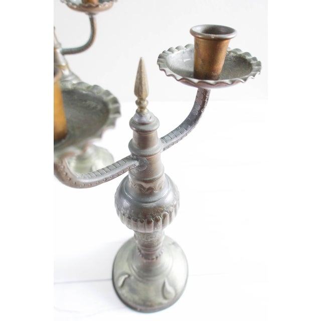 Vintage 1960s Egyptian Tin Candlesticks - a Pair For Sale - Image 4 of 5