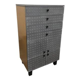 Custom Maple Wood Metal + Rivet Eight Drawer Dresser For Sale