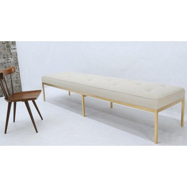 Extra Long Solid Brass Base Frame Spring Loaded New Upholstery Bench Daybed For Sale - Image 9 of 13