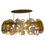 Image of Contemporary Italian Amber & Amethyst Murano Glass Gold Bronze Finish Chandelier For Sale