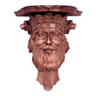 English Renaissance Carved Man Shelf For Sale